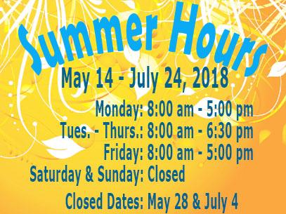 Library Summer 2018 Hours