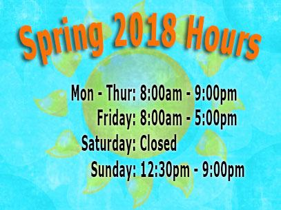 Library Spring 2018 Hours