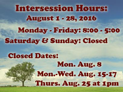 Library Hours for Summer Intersession