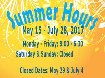 Library Summer 2017 Hours