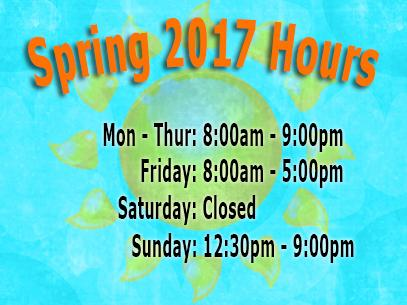 Library Spring semester Hours