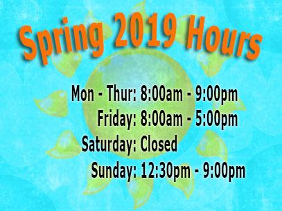 Library Spring 2019 Hours