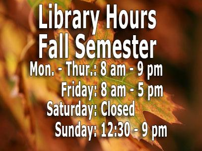 Library Hours for Fall 2016